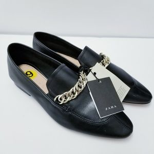 Zara Chain black Loafers Leather